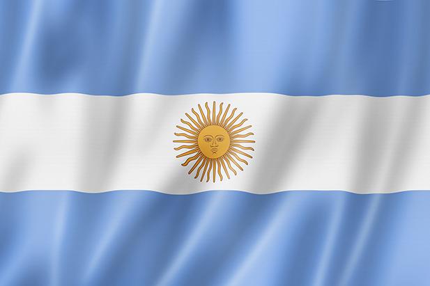 """Argentina flag, three dimensional render, satin texture"""